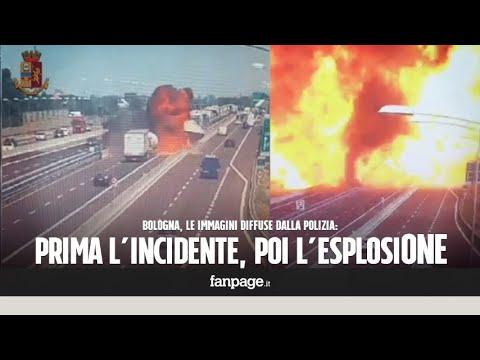 Bologna, ecco il momento dell'esplosione: pochi istanti dopo l'incidente scoppia l'inferno sulla A14