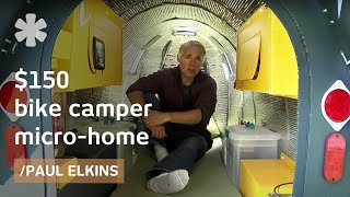 "$150 bike camper: DIY micro mobile home (downloadable plans)(Paul Elkins fell for micro-camping in 2002 when he toured the country in his cabover ""stealth camper"". Sure he could make something more affordable, this year ..., 2015-12-07T05:56:21.000Z)"