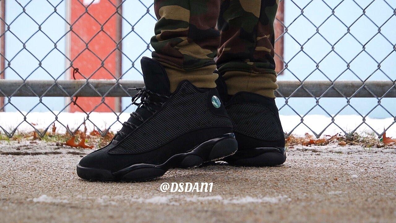 air jordan 13 black cat on feet
