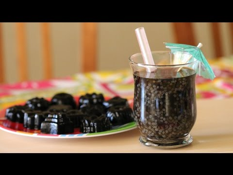 Grass Jelly Drink with Thai Basil Seed Recipe (Nuoc Suong Sao Hot E)
