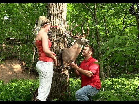 Deer Hunter Proposal With Buck Called Kick It In