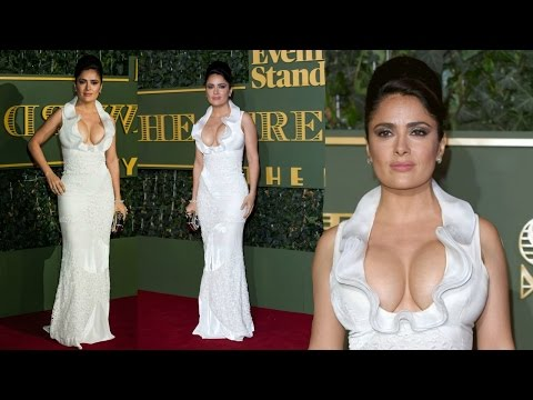 Salma Hayek Flaunts Her Milky Cleavage In White Low Cut Gown At ESTA 2015 !! thumbnail