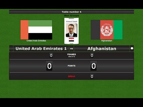 Snooker Team Men Groups : United Arab Emirates 1 vs Afghanistan