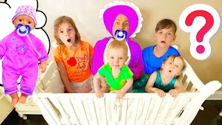 Five Kids Preten Play with Baby Daddy