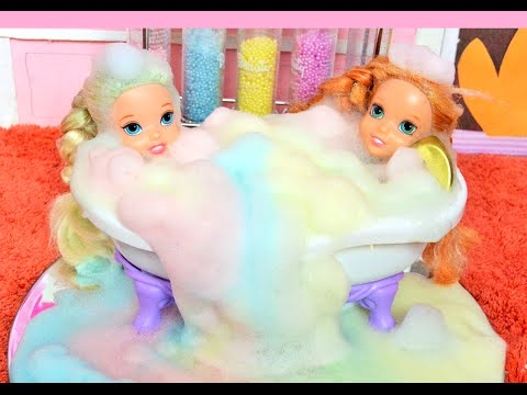 Elsya and Annya Barbie Day Spa Rainbow Soap Dolls Anna Elsa Toddlers Toys and Dolls Family Story