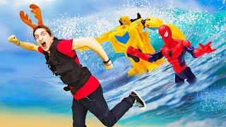 Супергерои и Трансформеры - Потоп на Фабрике Героев! – Видео онлайн для мальчиков.