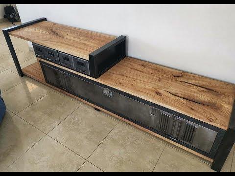 comment fabriquer meuble tv vestiaire industriel info complete en fin de video