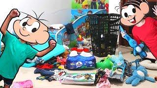 CEBOLINHA FEZ BAGUNÇA OU FOI LUCAS? - Kids Pretend Play with Cleaning Toys  Turma da Mônica - monica