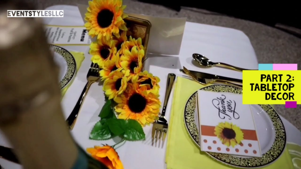 SUNFLOWER DECORATION IDEAS |  YELLOW FLORAL #SunflowerCenterpiece #SunflowerBackdrop #shorts