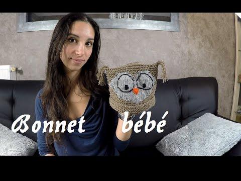 Trop sympa   un bonnet hibou pour bébé   knit a beanie baby owl ... db5c23d00cf