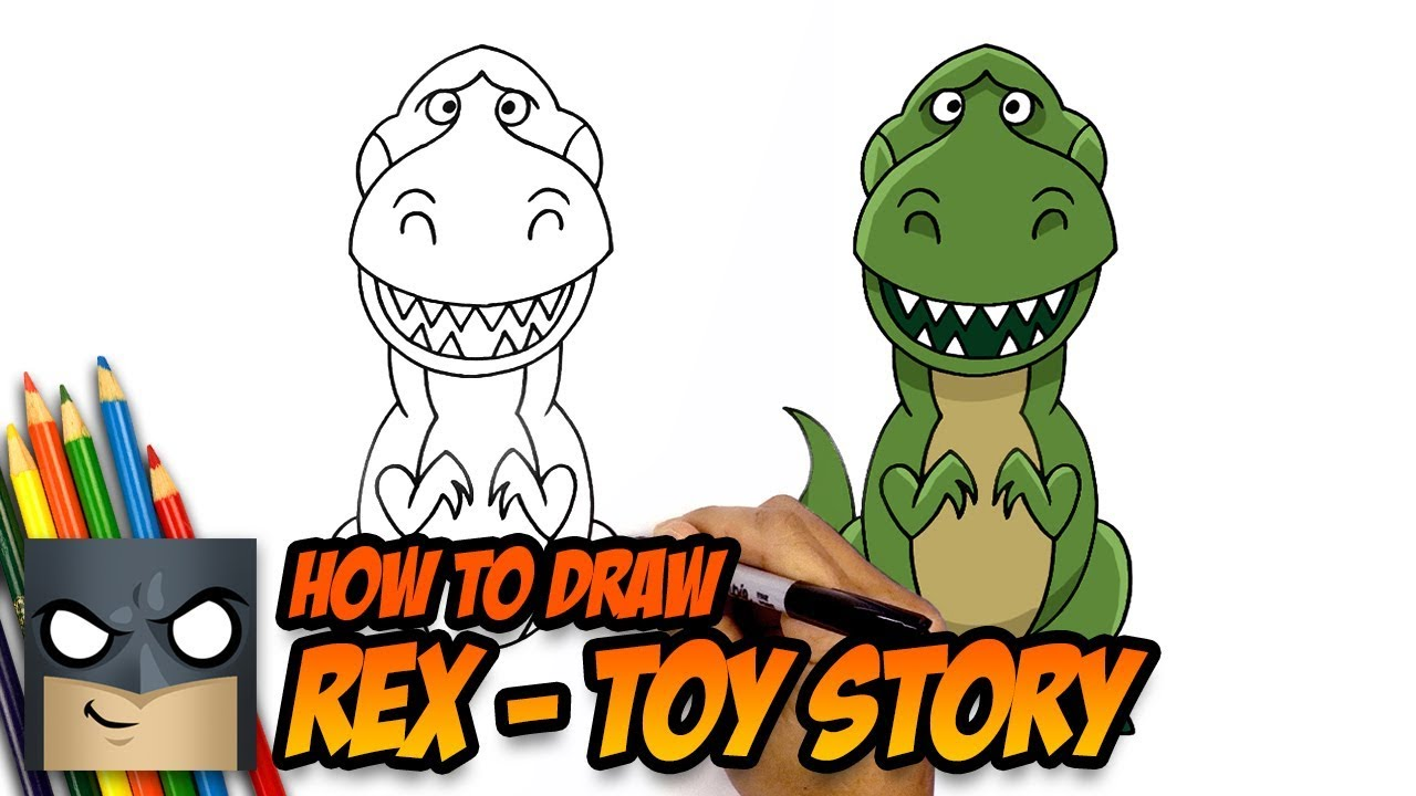 How To Draw Toy Story Rex Step By Step Tutorial