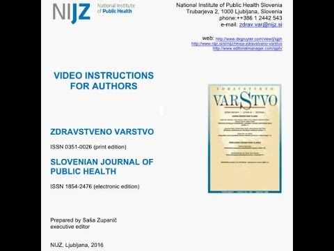 Slovenian Journal of Public Health - Video instructions for
