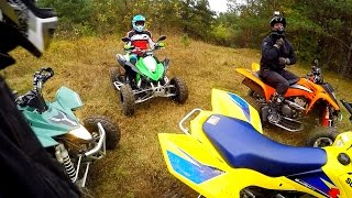 Speed Demon Kawasaki KFX 450 + Fast girl on ATV - Quads riding autumn