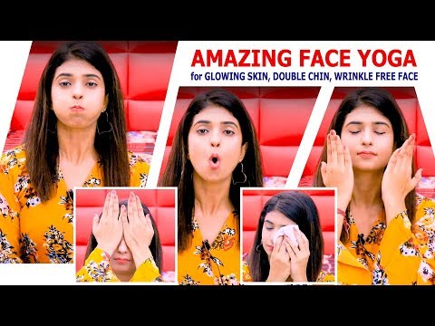 Easy Face Exercises for Double Chin, Wrinkles Glowing Face in Hindi (Results in 7 days!)Face Yoga
