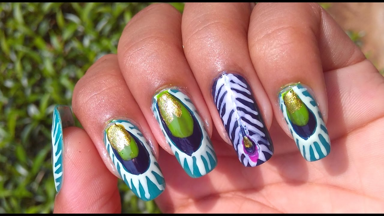 Nail Art Tutorial Peacock Feather Nails Design Youtube