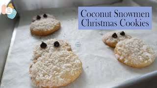 Coconut Snowmen Christmas Cookies Without Cookie Cutter Recipe | Bake From Scratch