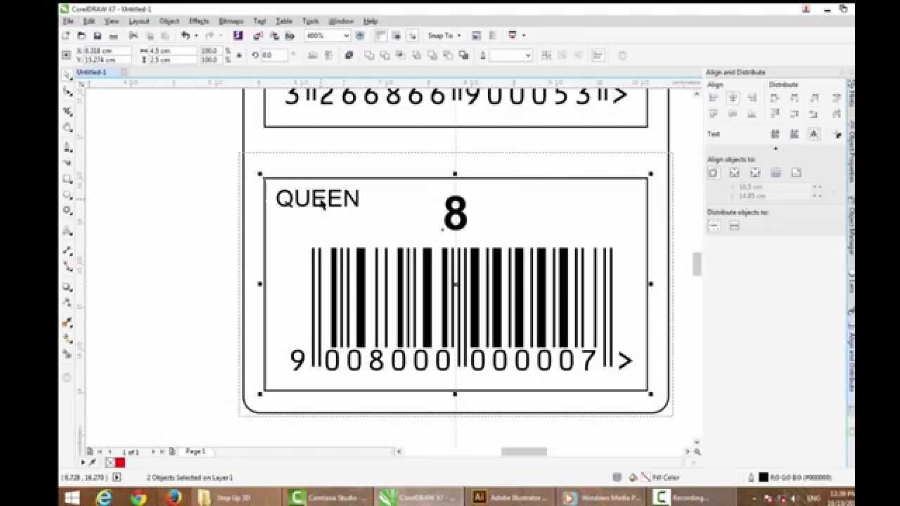 Coreldraw X7 Sticker Barcode Creative Youtube