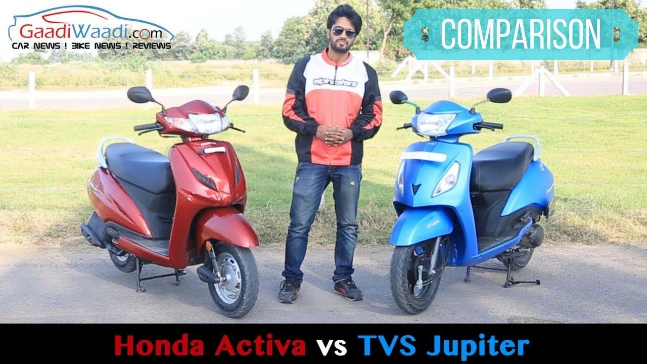 Honda Activa 4g Vs Tvs Jupiter Comparison Shootout Review Youtube