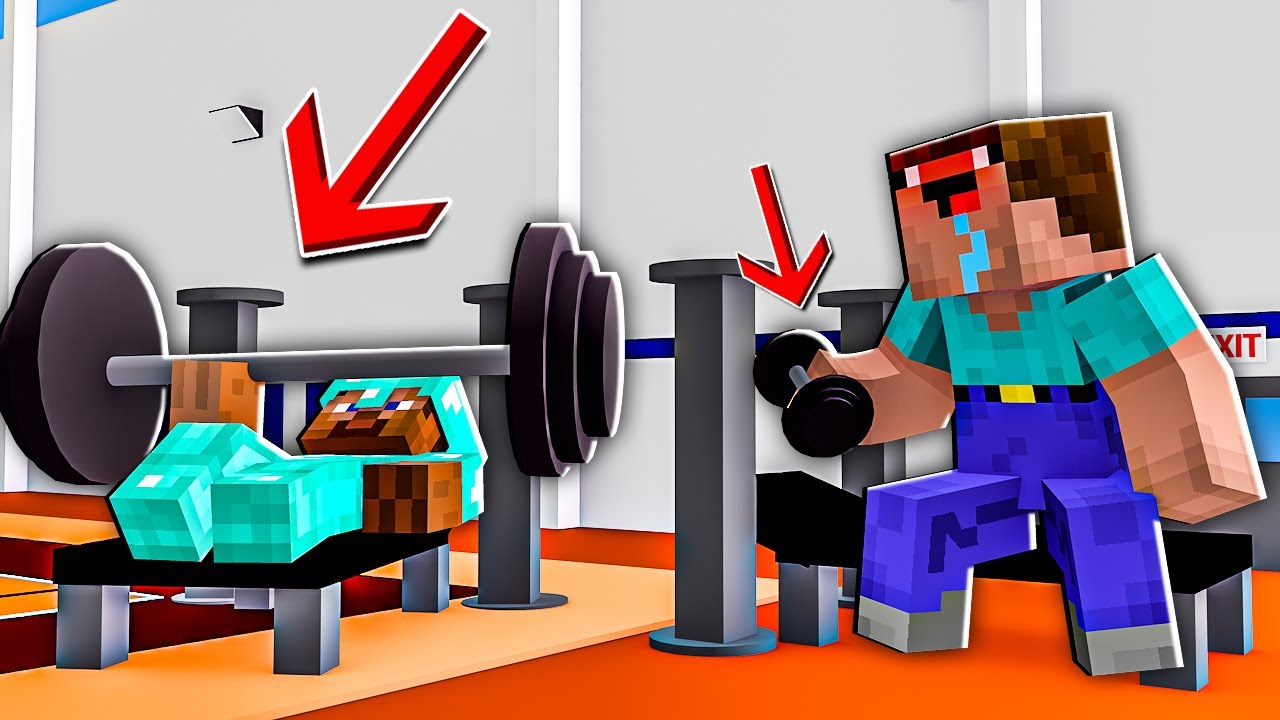 Minecraft NOOB vs PRO: HOW NOOB AND PRO HAS BEEN WORKING OUT IN GYM ! 100% TROLLING BECAME STRONG