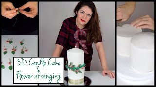 3D Candle light cake | Gumpaste flowers arranging
