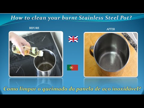 How to clean easily a burnt Stainless Steel Pot or Pan  without Chemicals