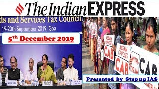 5th December 2019 The Indian Express Newspaper and Editorial Discussion
