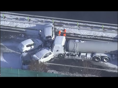 One dead after 130-car pileup on snowy Japan highway
