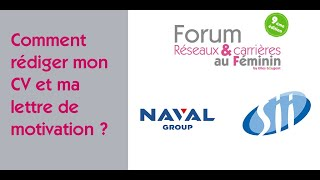 Forum Réseaux et Carrières au Féminin 2021 : Comment rédiger mon C…