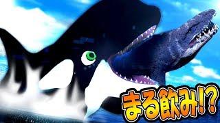 最強恐竜モササウルスも巨大クジラもまる飲み!? シャチがサメも恐竜も食いまくる!! サメの海で弱肉強食の壮絶バトル!! - Feed and Grow Fish #72