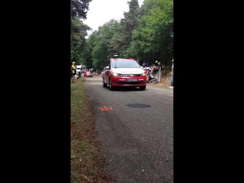 Tour de France 2014 Alsace Klaxon voiture puis échapper du jour.