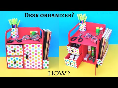 DIY: How to make Desk Organizer from cardboard box | Best out of waste | Space saving organizer
