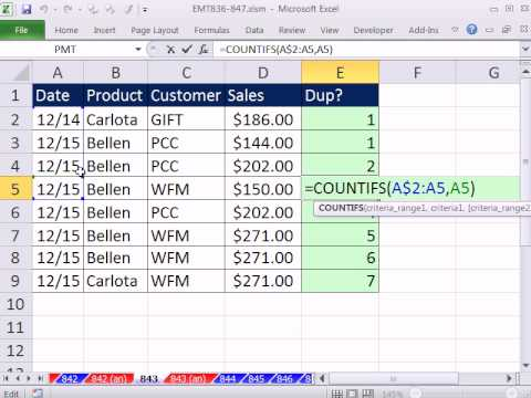 Excel Magic Trick 843: Is Record Duplicate, Excluding First Occurrence? COUNTIFS Function