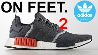 Adidas nmd R1 grey / solar red on feet EP.2