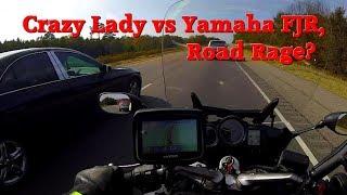 Crazy Lady from Arkansas vs Yamaha FJR Motorcycle, Road Rage?