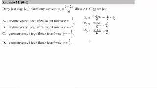 Dany jest ciąg an określony wzorem an=5−2n6 dla n≥1  Ciąg ten jest