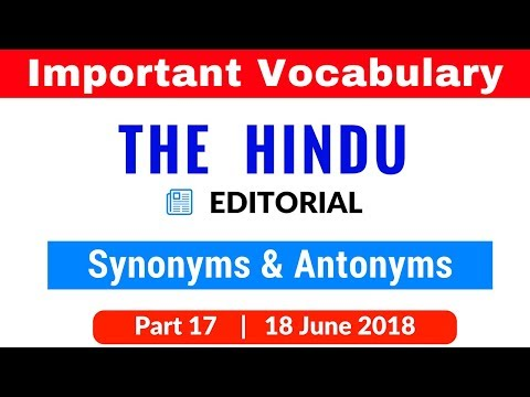The Hindu Vocabulary fromEditorial for SBI PO | CLERK | IBPS PO | SSC CGL Part 17