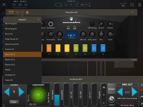 MORE FUN WITH IOS APPS Audiokit D1 GEOSHRED and Ruismaker with Rozeta Rhythm All in AUM