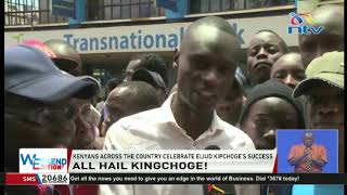 Kenyans across the country celebrate Eliud Kipchoge's victory