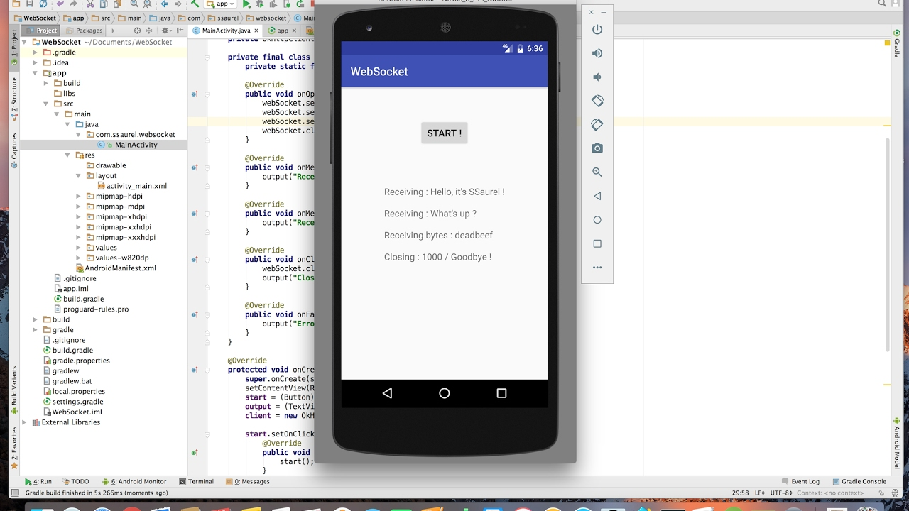 Learn to use WebSockets on Android with OkHttp - Sylvain