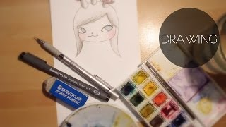 How to draw - Big Eye Girl - pencil, pigment liner, watercolor
