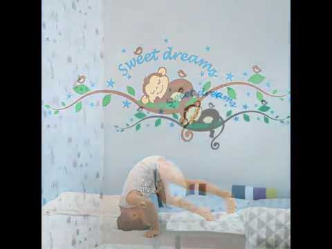 Sleep Monkey Removable Vinyl Wall Decal Stickers Art Mural