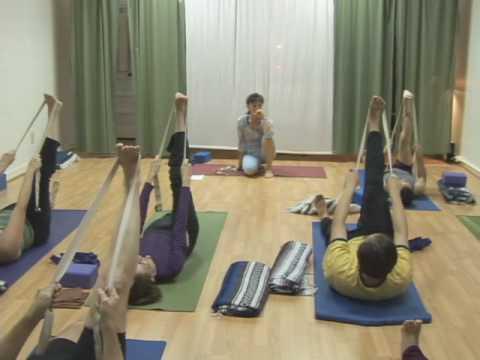 leg stretch with a belt  yoga pose  youtube