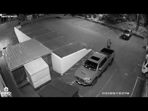 Drunken Vandal tries to broke in KIRO Radio 97.3 FM Employee Car