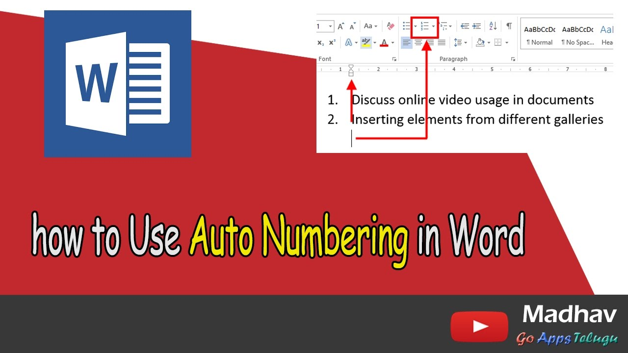 How to use auto numbering in word youtube how to use auto numbering in word ccuart Image collections