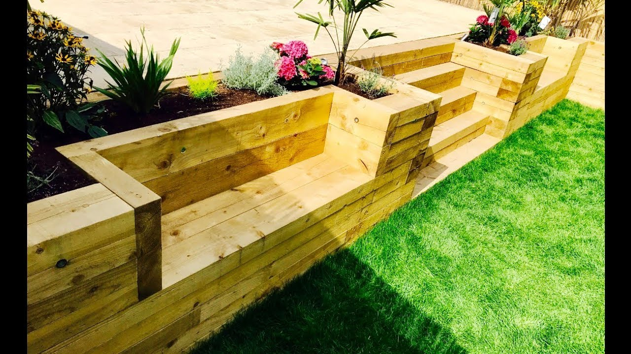 Using Railway Sleepers For Raised Vegetable Beds Garden Levelling Retaining Wall Stairs Benches From Railway Sleepers