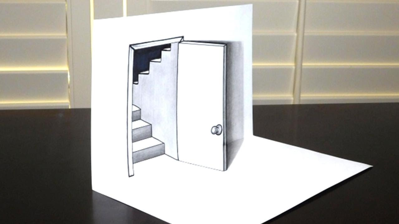 Open door drawing perspective - How To Draw A 3d Door And Steps Trick Art