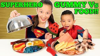 Superhero GUMMY Vs REAL FOOD Spiderman Vs Supergirl Challenge Ckn Toys thumbnail