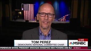American flag crashes to floor as DNC leader Tom Perez speaks on live TV