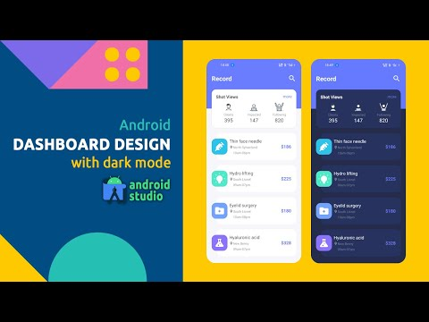 Android Dashboard UI Design With Dark Mode Using Android Studio