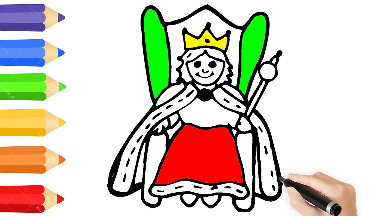 Queen Coloring Page w How to Draw Queen |Drawing Videos for kids ...